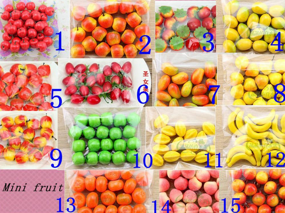 15 kinds optional 60pcs Bubble mini fruit Simulation Fruit Artificial Vegetable Fake Apple Home Decoration Wholesale 004001014(China (Mainland))