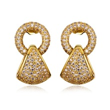 Female Fashion Bridal Marriage Jewelry Stud Earrings Real Gold Plated Environmental Friendly AAA Cubic Zirconia Free Shipping