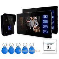 """7"""" Video Door phone Intercom Doorbell 1Camera 2Monitor Night Vision RFID Keyfobs,Intercom Doorbel"""