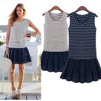 Women's fahsion sleeveless design dress high quality cotton Euro brief style beautiful dress free shipping