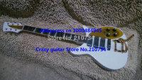 new Custom white gold colored pickguard 325 330 Custom 3 Pickups Electric Guitar bigbys  Free shipping