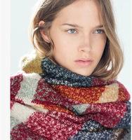 New 2014 Winter Women's Scarf Fashion Loop yarns Mohair Striped Scarf Shawl Soft Warm Free Shipping
