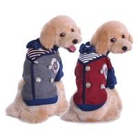 New small Pet dog British College Puppy style dog cotton Bow tie thicken Autumn Winter warm outwear fashion dog clothes XXL