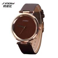 Top Sale! SINOBI Brand Genuine Leather Strap Wristwatches For Women Men Dress watches Golden case classic grid dial quartz watch