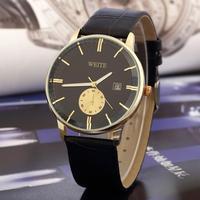 3JY066 Running Calendar Sports Watch Hardlex WEITE Stainless Steel Case Men's Wristwatch Leather Hot Selling Quartz Movement