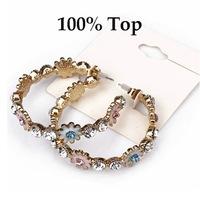 Min Order 9$! Rhinestone Paved Flower Fashion Hoop Earrings Women Party Jewelry
