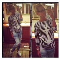 New 2014 Fashion Women T Shirt Hot Selling Anchor Print Long Striped T-shirt Rock Shirt Spring Summer Tops For Women Sale W38