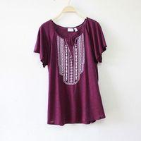 2014 large size women fat mm summer loose t-shirt female European style ladies round neck short sleeve t-shirt loose