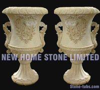 outdoor garden pots patio planters decorative flowerpots yellow granite hand carved vase for flowers