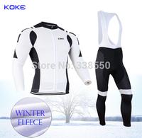 Winter White New full zipper men Autumn Fleece thermal Winter cycling jersey/ Long Sleeve+Bib Pants cycling clothing  -BT2032