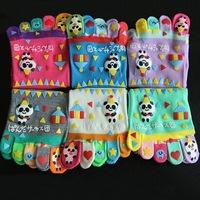 6PC  NEW Autumn Winter Colorful Cartoon Women Toe Socks Five Fingers Cotton Socks Couple Socks Free Size