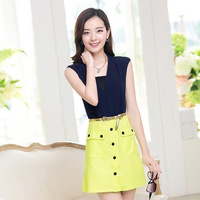 Women's fahsion button belt sleeveless design dress high quality  Euro style beautiful dress free shipping