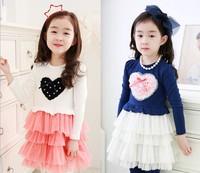 Korean Girl Dress Of Autumn Long Sleeve Lovely Cake Gauze Children Pirncess Dresses Baby Tutu Dress 100-140 Kids Clothing WD495