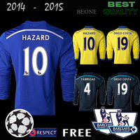 BEST Thailand A+++ 2015 Long Sleeve Chelsea 14 15 Embroidery Home away 3rd Soccer jerseys camisetas de futbol /Free patches