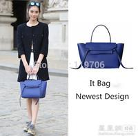 2015 Newest Celebrity Trapeze Bag Women Genuine Cowhide Leather Casual Handbags Belt Bag Brand Designer Catfish Bolsas With LOGO