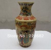 Fine chinese vintage hand painted Rose porcelain Vase, home decoration flower vases free shipping