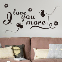 The New Fashion Butterfly insect / I Love you more/ Wall Stickers Adesivo De Parede 52*100 P3