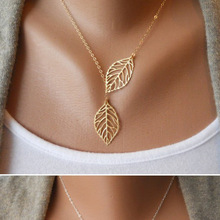 Simple European  New Fashion Vintage Punk Gold Hollow Two Leaf Leaves Pendant Necklace Clavicle Chain Charm Jewelry Women PD26