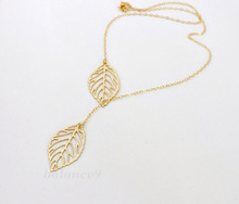 Simple European New Fashion Vintage Punk Gold Hollow Two Leaf Leaves Pendant Necklace Clavicle Chain Charm