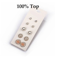 Min Order 9$! Delicate 5 Pairs Mixed Styles Imitation Pearl Earrings Women Studs Jewelry