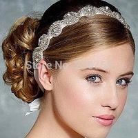 Authentic Korean Hair High-grade Rhinestone Tiara Beautiful Bridal Detonating Strap Jewelry Crystal Headband Ribbon, HB002