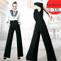 S-XXL New Women Work Black Slim High Waist Flare Vintage Career OL Loose Wide Leg Long Pants Palazzo Trousers Pants