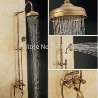 "Antique Brass Finished Artistic Bathroom Dual Handles Bathtub Shower Faucet Set with 8"" Rain Showerhead + Hand Shower"