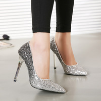 Free shipping  2015 European style  new women pumps  flash gold sequins  stiletto  pointed toe sexy women shoes  size(35-40)