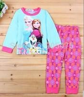 2014 new  long sleeve FROZEN Elsa and Anna girl girls pyjamas suit  6 sets/lot mn01