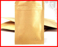 100x Free Shipping 8x11CM Small Brown Kraft Paper Gift Bags flat reasealable no stand up fit 50g powder / coffee / tea / nuts