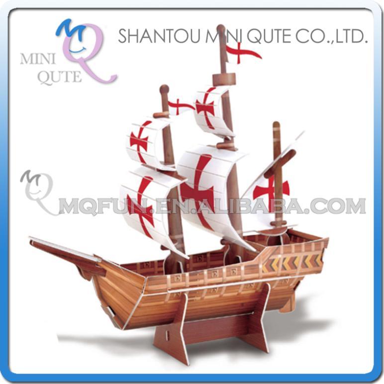 Mini Qute Mini Santa Maria Ship building 3d paper puzzle model cardboard jigsaw puzzle game educational toy NO.B668-23(China (Mainland))