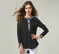 2014 Europe Plus Size Women Spring Shirts Wave Point Printed Spliced Ladies Chiffon Tops Fashion Black Long Sleeve Blouse L-4XL