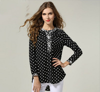 2014 Europe Plus Size Women Spring Shirts Wave Point Printed Spliced Ladies Chiffon Tops Fashion Black Long Sleeve Blouse L-4XL