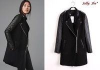 sally she  D00-60 women fashion autumn winter leather patchwork woolen outerwear female overcoat brand style