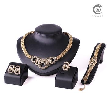 Женщины ну вечеринку позолоченный африканские бусины ювелирные изделия устанавливает кристалл крест ожерелье браслет серьги кольцо свадебное платье аксессуары костюма