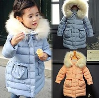 2014 New Arrival Fashion girls winter coat children's Hooded cotton-padded clothes Children long clip cotton thickening coat 391