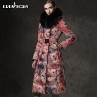 Women Winter Down Coats Jackets Parka 2014 High Quality Fashion Brand Raccoon Large Fur Collar Hoody Thickening Slim Long Print