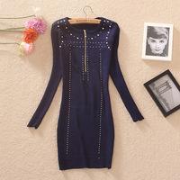 Autumn rivet smd zipper bag knitted basic long-sleeve dress