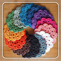 Free shipping Hand made crochet doily table cloth , Different styles of different Placemat  color custom crochet cup mat