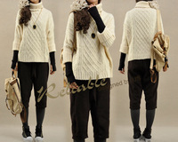 New arrival winter women's loose thick pullover sweater basic vintage twisted pattern long-sleeve turtleneck sweater female 1091