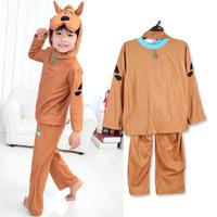 2015 winter trend children clothes set child clothing 100% polyester baby boy pajama set with cartoon dog hat girl clothing set