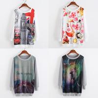 [Amy] 2014 cotton sweatshirt for women High quality 3D single side printing women's thin hoodies free shipping 7model