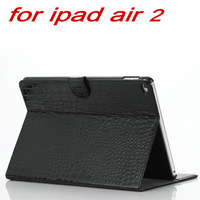 20pcs/lot  For Apple Ipad Air 2 Ipad 6 Crocodile Smart Luxury Case Cover 2014 Newest PU Leather Tri-Fold Stand with Hard Back