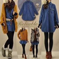 New arrival female autumn turn-down collar medium-long loose denim long-sleeve dress casual vintage dresses for women 1088