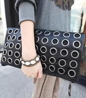 2014 new handbags hot sale Korean socialite retro metal rivet clutch bag evening bag women day clutch