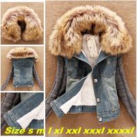 Autumn short denim jacket women winter slim yarn large fur collar lamb cotton denim outerwear jeans Coats XXS-6XL