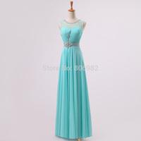 Elegant new Bridesmaid Dresses 2015 Sky Blue Scoop Neckline Crystal Stones Bridesmaid Gown Party Dresses Custom All Size DM002