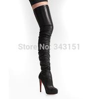 Black Sexy Over The Knee Boots Brand Women's Platform Thigh High Boots Thin High Heels 2014 Winter