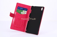 Top Quality With stand Flip Cover Leather Case For Sony Xperia Z3 + MOQ:50pcs Free DHL Shipping