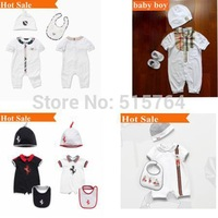 retail 0-3 months Newborn brand design high quality 100% cotton baby bodysuits rompers jumpsuits overall + hat + bib 3 pcs set